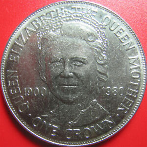 """1980 ISLE OF MAN ONE 1 CROWN QUEEN MOTHER """"MUM"""" 80th BIRTHDAY 38.5mm (no silver)"""