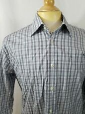 Mens IKE BEHAR Button Front Dress Shirt Gray Plaid 120s Two Ply 15.5 - 34/35 W2