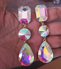 3 Long Gold Ab Aurora Borealis Drop Gl Crystal Rhinestone Earrings Formal