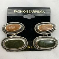 Vintage Funky Shimmer Enamel Drop Dangle Pierced Earrings NOS 80s 90s Green