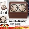 Nuovo 4+6 Scatola Porta Orologi Vetrina Rotazione EspositoreWatch Winder Box DHL