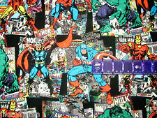 HULK IRON MAN THOR MARVEL COMICS VINTAGE ART on COTTON FABRIC Priced By The Yard