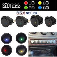 20Pcs LED Dot Light 12V Car Auto Boat Round Rocker ON/OFF TOGGLE SPST SWITCH