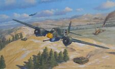 ORIGINAL WW2 MILITARY AVIATION ART PAINTING Hs-129 LUFTWAFFE VS T-34 TANKS WWII