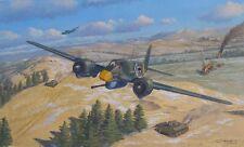 ORIGINAL WW2 AVIATION ART PAINTING Hs-129 LUFTWAFFE PANZERKNACKER VS TANKS WWII