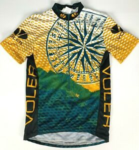 Voler 3/4 Zip Compass Made in USA Cycling Jersey sz XS Green White Brown