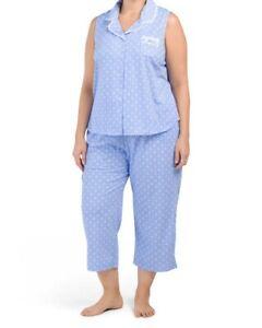 NWT ARIA Blue Drawstring Capri Cotton Blend Pajamas Plus Size 1X - Retail $76.00