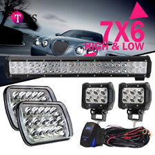 7x6 LED Headlight + 20'' Light Bar For 86-95 Jeep Wrangler YJ 84-01 Cherokee XJ