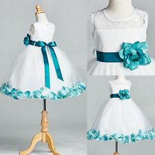 White LACE Teal Rose Petal Dress0 Flower Girl Wedding Vintage Toddler Tulle #25