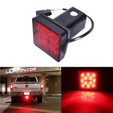 "2"" Truck Tail Brake Light Tow Bar Lamp Red 12 LED For Trailer Hitch Cover Mount"