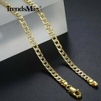 Mens Womens Silver Gold Filled Tone Necklace Hammer Curb Cuban Link Chain 18-36""