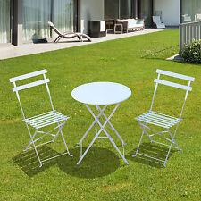 Outsunny-Set Tavolo e 2 Sedie Pieghevoli Set Arredo da Giardino in Ferro, Bianco