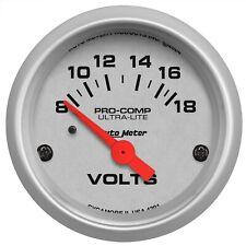 """AutoMeter VOLTMETER GAUGE 2 1/16"""" 18V ELEC ULTRA-LITE"""