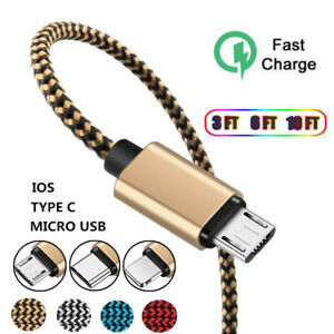3/6/10FT 2A Fast Braided Micro USB Type C IOS Data Sync Charger Cable For iPhone