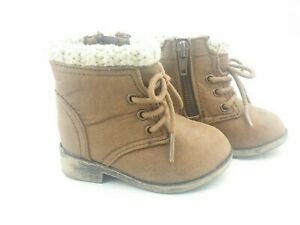 Garanimals Boots Baby Girl Size 4 Brown Side Zip Faux Shearing Non Marking Sole