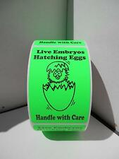 LIVE EMBRYOS HATCHING EGGS HANDLE WITH CARE green fluorescent Labels 250/rl