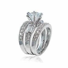 Princess Bridal Engagement Ring 3pc Set Women's 925 Sterling Silver Wedding Band
