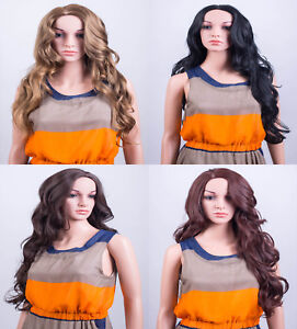 Ladies Forever Young Brown Blonde Red Long Wavy Fringeless Wig UK Wigs