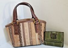 FOSSIL Brown F Logo Handbag Purse Shoulder BagSmall with GREEN FOSSIL WALLET