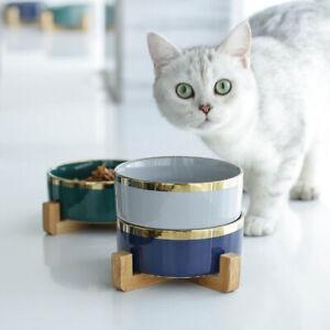 Pet Cat Ceramic Bowl Universal Pet Eating Drinking Bowl + Rack Antiskid Bowls