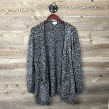 TSE Open Front Cardigan Black and White Gray Marled Size L Cotton