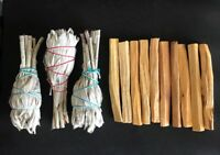 10 Palo Santo Wood & 3 White Sage Smudge Torch: Cleansing Negativity Removal new