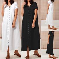 Women Short Sleeve Button Up Shirt Dress Kaftan Loose Baggy Oversized Plain Robe