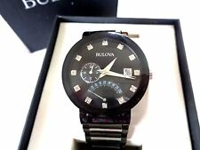 Men's BULOVA WATCH  98D109  w/ Box / Extra Link  ~ Duel Time ~ Diamond Accented