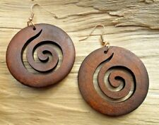 Swirl Whirl Disc Wooden Cutout Large Dark Brown Hook Earrings 5cm NEW