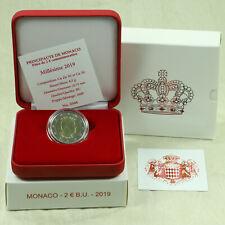 2 Euro Kursmünze Monaco 2019 Fürst Albert II. BU ST in Souvenir Box Etui Rar