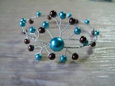 Bracelet Turquoise/Marron Mariée/Mariage/Cérémonie perles original pas cher