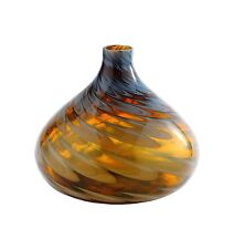 "New 11"" Hand Blown Art Glass Teardrop Vase Bottle Black Amber Decorative"