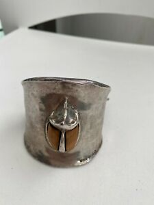 """NEW Uno De 50 Silver 2.25"""" Thick ESCUDAJO Beetle Cuff Bracelet 7-8"""""""