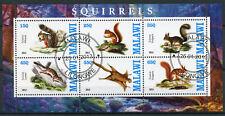 Malawi 2013 CTO Squirrel Squirrels 6v M/S Wild Animals Stamps