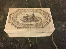 Antq. Style Folk Art  Ship Scrimshaw Etched & Wood Trinket Box
