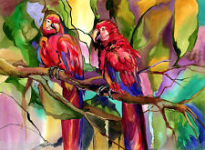 Parrots TROPICAL HEAT Florida Red Lovers11x14 Giclee Print **SALE