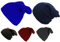 Mens Ladies Knitted Woolly Winter Oversized Slouch Beanie Hat Cap skateboard NEW