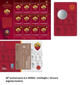 San Marino 2017-90°fondazione dell' AS ROMA Minifoglio + 10 euro Argento