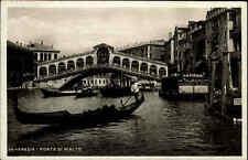 Venezia Venedig Postkarte 1935 Partie an der Rialto Brücke Canale Grande Gondeln