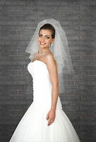 "NEW Womens 2 Layer White / Ivory Wedding Bridal Veil Waist Length 32"" CRYSTALS"