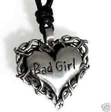 47B Silver PEWTER Gothic BAD GIRL Heart Biker PENDANT