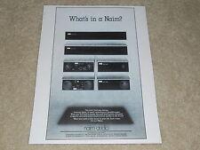 NAIM Audio Ad, 1982, Amp, Preamp, Tuner, Very rare Info!