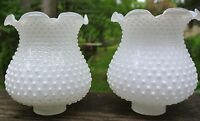 Vintage Hobnail White Glass Chandelier Shades Ruffled Rim