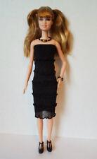 Fits TALL Body BARBIE DOLL CLOTHES Black Dress & Jewelry Fashion NO DOLL d4e