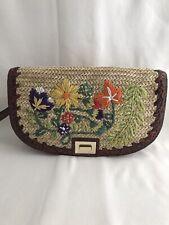 Brahmin Le Jardin Collection Sandrine Straw Clutch Natural Q381192 Dust Bag