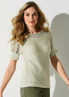 Short Sleeve Knitted Top with Open Weave shoulder Detail Size 10