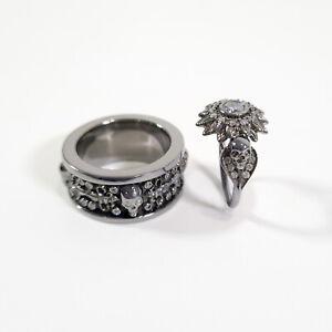 Diamond Skull Flower Engagement Ring Fleur De Lis Band Couple Rings Gun Metal Fn