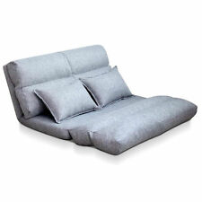Sofa Adjustable Lounge 5 Positions Grey Double Size Bed Floor Linen Fabric