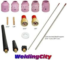 "TIG Welding Torch 9/20 Kit Gas Lens-Tungsten (Red) 3/32""-1/8"" T51A 