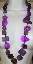 "Sobral 35"" Long Aventuras Indiana Chunky Purple Mix Necklace Brazil Import"